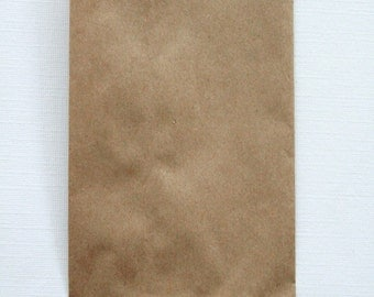 QTY 50 Extra Small Recycled Brown Paper Flat Merchandise Bags - 3 1/4 Inches x 5 1/4 Inches