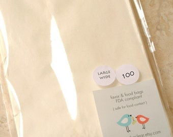 QTY 125 Large Wide Flat Glassine Bags - 4.5 inch x 6.75 Inch - Favors, Treats, FDA Approved for Food Contact