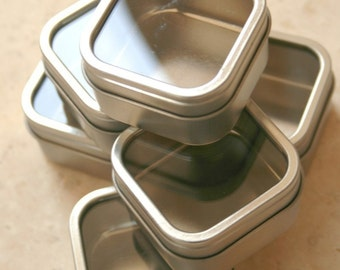 Three Samples - Square Window Tins - 2x2x1 - 2 Ounces Capacity and 2.5x2.5.1.5 - 4 Ounces Capacity - Large Round Tin