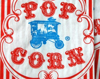Vintage Style Wagon Popcorn Bags - Red and White Stripes - Gusseted 3 1/2 x 2 1/4 x 7 3/4 Inches - set of 100