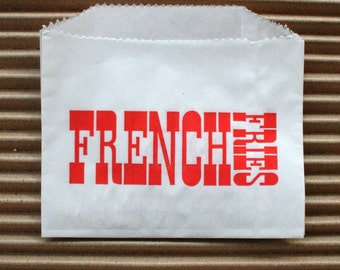 Vintage Style White French Fries Bags - White with Red - Flat Bags 4.5 x 3.5 Inches - set of 50