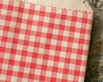 Set of 100 - Red Gingham Flat Paper Merchandise Bags - 8.5 x 11 Inches - Gifts, Packaging, Retail