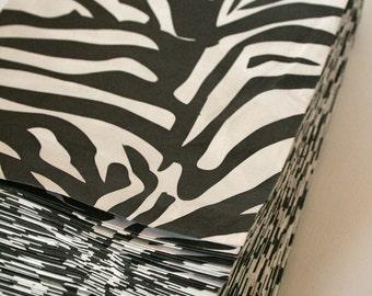 Set of 25 - Traditional Sweet Shop Zebra Print Paper Bags - 7 x 9