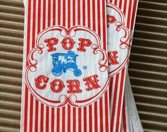 Vintage Style Wagon Popcorn Bags - Red and White Stripes - Gusseted 3 1/2 x 2 1/4 x 7 3/4 Inches - set of 25