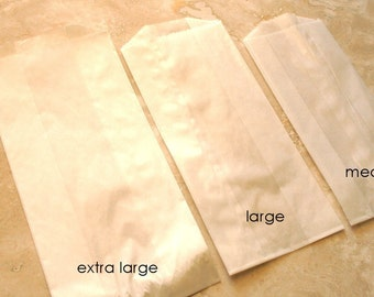 QTY 200 Large Gusseted Glassine Bags - 3 1/2 x 2 1/4 x 7 3/4 - Favors, Treats, FDA Approved for Food Contact
