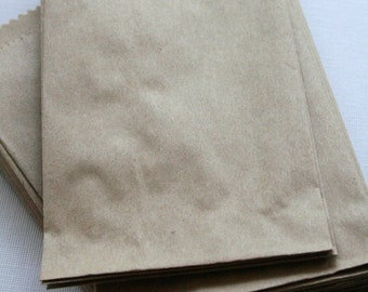 QTY 50 Small Recycled Brown Paper Flat Merchandise Bags - 4 Inches x 6 Inches