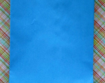Set of 100 - Blue Flat Paper Merchandise Bags - 6.25 x 9.25 Inches - Gifts, Packaging, Retail