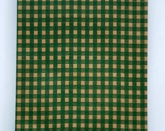 Set of 25 - Forest Green Gingham Flat Paper Merchandise Bags - 6.25 x 9.25 Inches - Gifts, Packaging, Retail