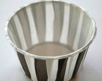 Striped Nut or Portion Paper Baking Cups - Brown and White - set of 24