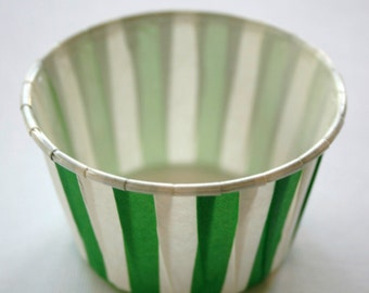 Striped Nut or Portion Paper Baking Cups - Green and White - set of 24