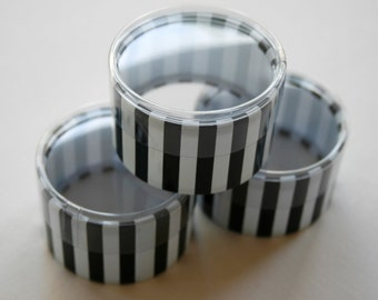 One Dozen Favor or Storage Boxes with Clear Lids and Bottoms - Plastic - Black Striped