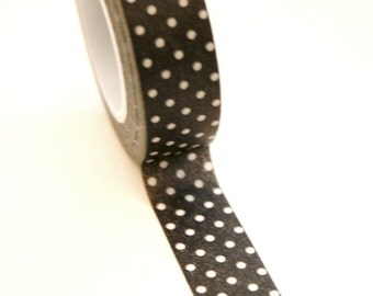 Washi Tape - 15mm - White Polka Dot on Black - Deco Paper Tape No. 169