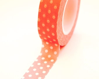 Washi Tape - 15mm - White Polka Dot on Pink - Deco Paper Tape No. 164