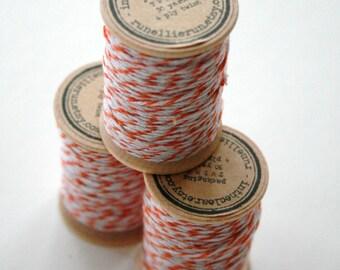 Packaging Twine - 30 Yards on Wooden Spool - Tangerine