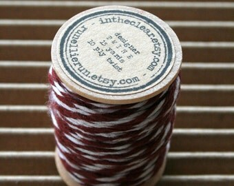 15 Yards Spool - Rust - 10 Ply Bakers Twine - Rusty Brown and White - Heavy Twine