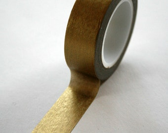 Washi Tape - 15mm - Metallic Gold Solid Color - Deco Paper Tape No. 15