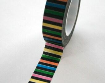 Washi Tape - 15mm - Black Multi Color Horizontal Stripe - Deco Paper Tape No. 105
