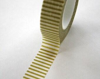 Washi Tape - 15mm - Chartreuse Light Olive Horizontal Stripe - Deco Paper Tape No. 104