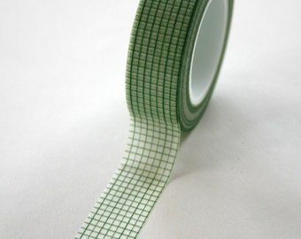 Washi Tape - 15mm - Green Graph Paper Grid Design on White - Deco Paper Tape No. 51