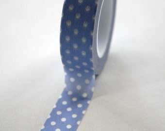 Washi Tape - 15mm - White Polka Dot on Periwinkle - Deco Paper Tape No. 163