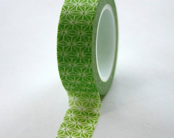 Washi Tape - 15mm - Green and White Geometric Pattern - Deco Paper Tape No. 339