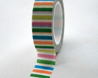 Washi Tape - 15mm - Rainbow Multi Stripe - Deco Paper Tape No. 109