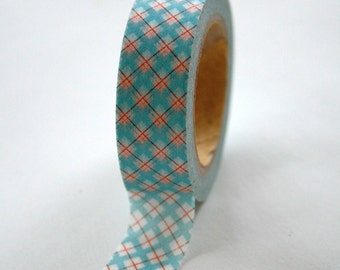 Washi Tape - 15mm - Blue Red Argyle on White - Deco Paper Tape No. 72