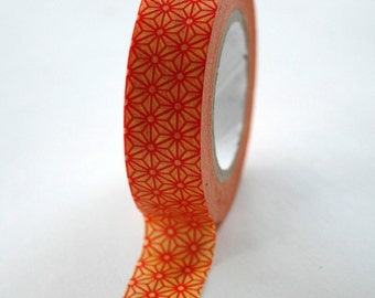 Washi Tape - 15mm - Red and Yellow Geometric Pattern - Deco Tape no. 347
