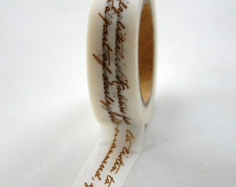 Washi Tape - 15mm - Brown Script - Deco Paper Tape No. 324