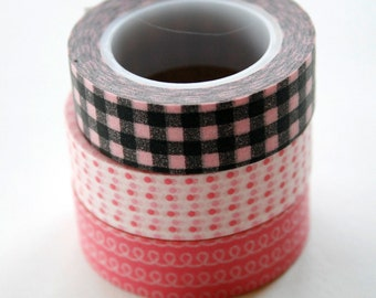 Washi Tape - 15mm - Combination E - Pink and Black - Three Rolls Deco Tape No. 82 / 88 / 205