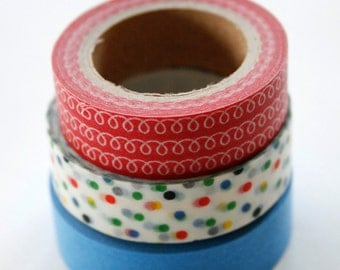 Washi Tape Set - 15mm - Combination F - Red White Blue - Three Rolls Deco Tape no. 181/85/8