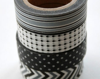 Washi Tape - 15mm - Combination L - Black and Grey - Four Rolls Washi Tape No. 122, 202, 169, 128