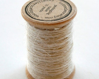 Burlap Twine - 30 Yards on Wooden Spool - Cream Color Jute