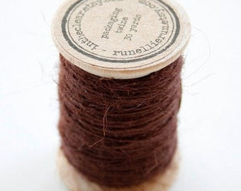Burlap Twine - 30 Yards on Wooden Spool - Chocolate Brown Color Jute