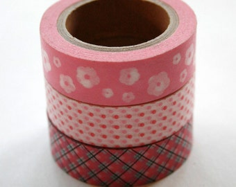 Washi Tape Set - 15mm - Combination W - Pinks - Three Rolls Washi Tape No. 205 / 68 / 213