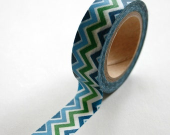 Washi Tape - 15mm - Multi Colored Blue Aqua Green Chevron Pattern - Deco Paper Tape No. 132