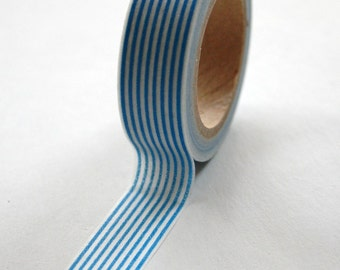 Washi Tape - 15mm - Blue Vertical Stripe Pattern - Deco Paper Tape No. 113