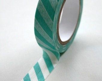 Washi Tape - 15mm - Aqua and White Diagonal Stripe - Deco Paper Tape No. 515
