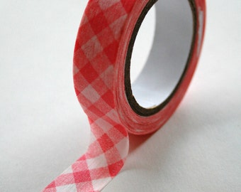 Washi Tape - 15mm - Baby Pink Gingham Design on White - Deco Paper Tape No. 62