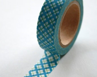Washi Tape - 15mm - Teal and Green Plaid - Deco Paper Tape No. 64