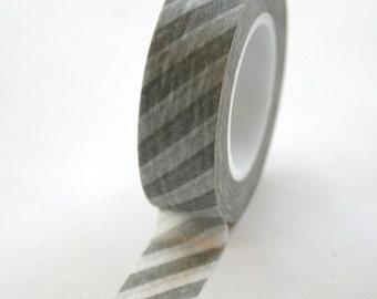 Washi Tape - 15mm - Grey and White Diagonal Stripe - Deco Paper Tape No. 359