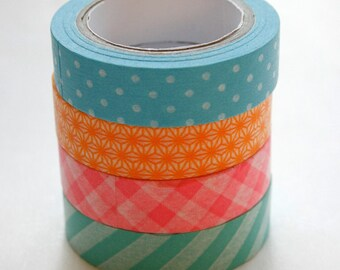 Washi Tape Set - 15mm - Combination AJ - Spring Bright Patterns - Four Rolls Washi Tape 161,349,62,515