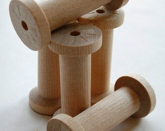Large Wooden Spools - set of 60 - Natural Wood Thread Spools