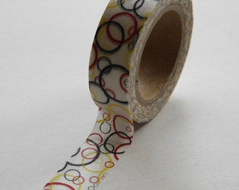 Washi Tape - 15mm - Bubbles Black Red Yellow Circles - Deco Paper Tape No. 350