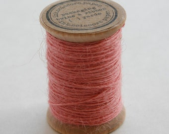 Burlap Twine - 30 Yards on Wooden Spool - Blossom Pink Color Jute