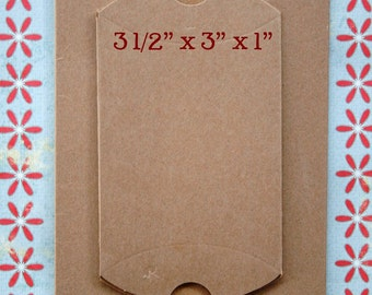 DIY Brown Small Kraft Pillow Boxes - set of 50 - Perfect for Embellishing with Deco Tapes - 3 1/2 x 3 x 1 Inches