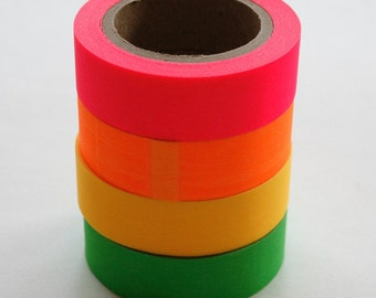 Washi Tape Set - 15mm  Neon Combination - Pink Orange Yellow Green- Four Rolls Washi Tape 19/20/21/22