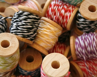 Baker's Twine on Wooden Spools - 5 Yards Each- 4 Ply Cotton Made in USA - Twenty Four Color Set