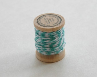 Baker's Twine on Wooden Spool - 5 Yards - 4 Ply Cotton Made in USA - Caribbean Teal