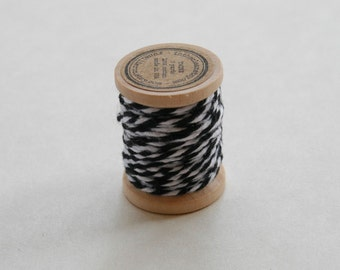 Baker's Twine on Wooden Spool - 5 Yards - 4 Ply Cotton Made in USA - Charcoal Black